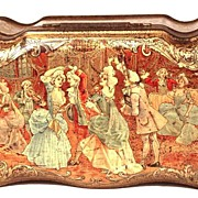 "Antique French Metal Chromolithograph Biscuit Tin: ""Biscuits Pernot"" circa 1895-1900"