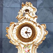 Nineteenth Century French Vieux Paris Porcelain Clock with Porcelain Stand