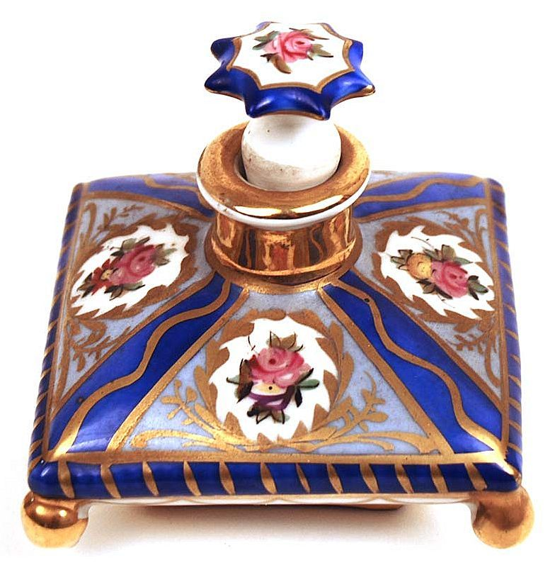 French Hand Painted Porcelain Perfume Jar with Original Bouchon