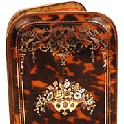 Stunning Antique French Tortoise Shell & Metal Pique Inlay Etui Cigar/Cigarette Case