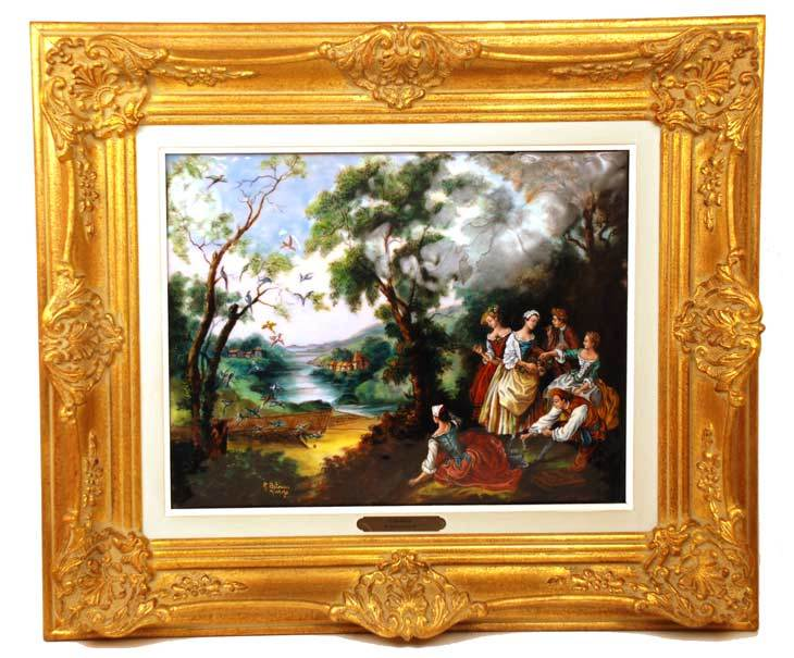 "Large Hand Painted Limoges Enamel Wall Plaque ""L'Oiseleur"" artist Restoueix after Lancret"