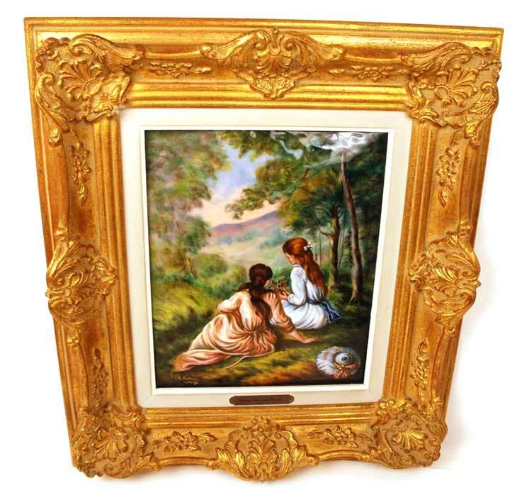"""Large Hand Painted Limoges Enamel Wall Plaque """"Jeunes Filles aux Champs"""" artist Restoueix after Renoir"""