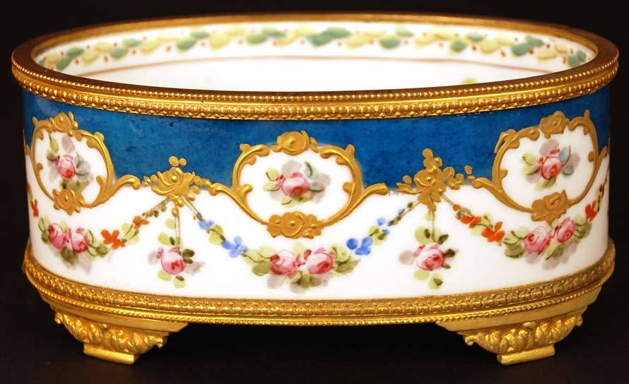 Antique Nineteenth Century Hand Painted Porcelain Coupe w/Bronze Doré Ormolu