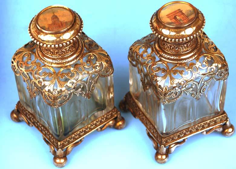 "Pair of Nineteenth Century ""Palais Royal"" French Silver and Glass Scent Bottles w/ Reticulated Ormolu"