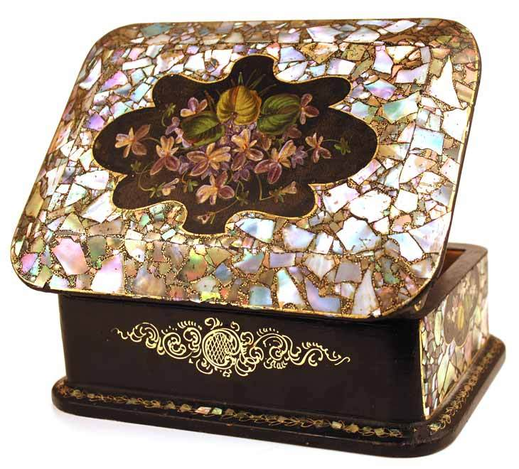 Antique Nineteenth Century Napoleon III Black Lacquer Mother of Pearl Coffre