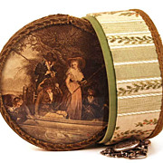 Large Antique French Eglomise (Color Lithograph Under Glass)  Bonbon Box