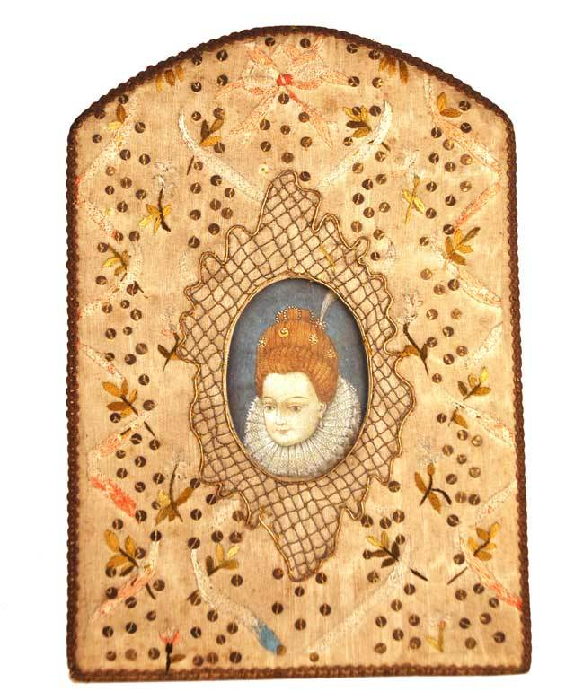 Antique Nineteenth Century French Embroidered Silk Standing Picture Frame