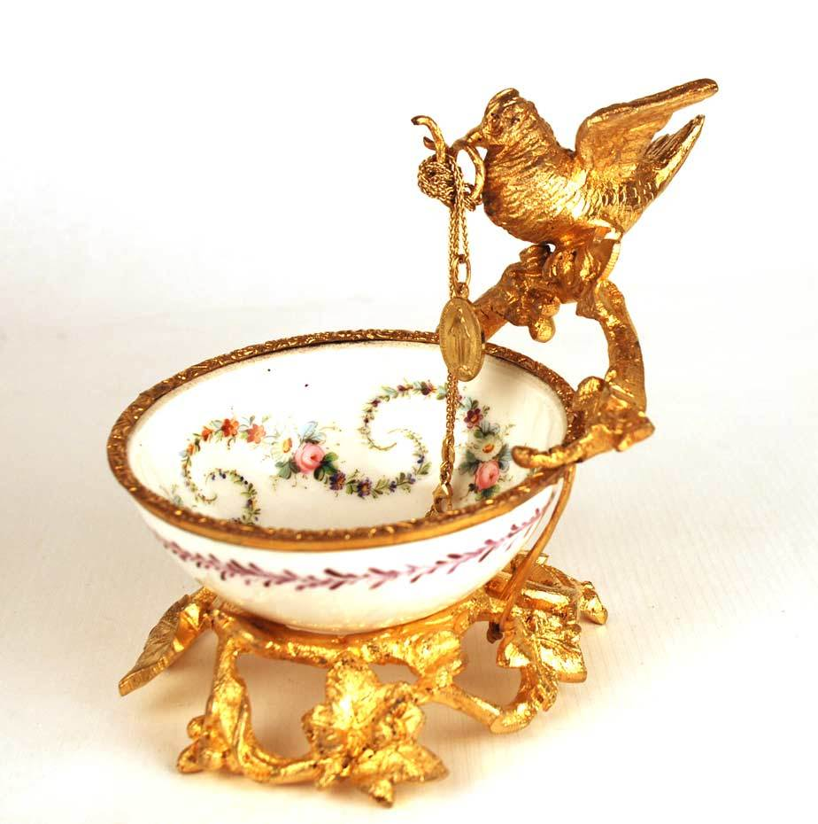 Antique Napoleon III Gilded Metal and Porcelain Vide Poche/Porte Montre