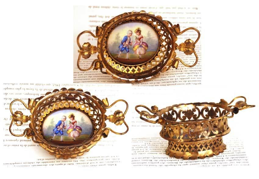 Antique Nineteenth Century Vide Poche w/ Hand Painted Porcelain Medallion