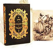 """Antique French Romantic Binding """"Histoire des Villes de France"""
