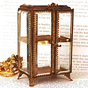 Antique Nineteenth Century Miniature Glass and Gilded Brass Vitrine