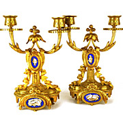 PAIR of Antique French Bronze Dore (Gilded Bronze) Bougeoir w/ Hand Painted Porcelain Medallions