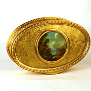 Large, Unusual 19th c.  Gilded Bronze Box w/ Original Oil Landscape Medallion