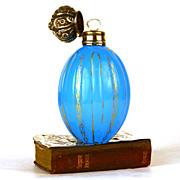 Antique Palais Royale French Blue Opaline Scent Bottle