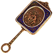 Rare Small Antique Napoleon III Champleve/Bronze Dore Miroir a Main (Hand Mirror) w/ Repousse Medallion