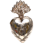 Antique Nineteenth Century French Silver Sacred Heart Reliquary Ex Voto