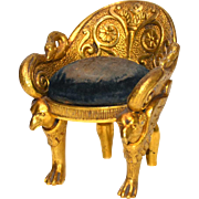 Rare Napoleon III Gilded Bronze Miniature Fauteuil Pique Epingle (Pin Cushion)