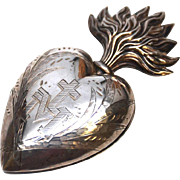 Exceptional Large French Silver Sacred Heart Ex Voto Reliquary with Vermeil Interior
