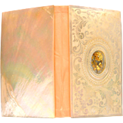 Exceptional Mother of Pearl Souvenir Carnet with Gilded Eglomise Flower