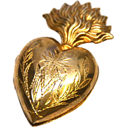 Small Antique Nineteenth Century Gilded Brass French Sacred Heart Ex Voto