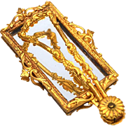 RARE Antique Nineteenth Century Gilded Brass Miror Pliant/Folding Hand Mirror