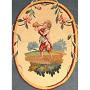 Antique Nineteenth Century Hand Worked Tapestry Oval Panel with Young Man