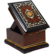 Antique Napoleon III Era Burl Wood Maple and Inlay Porte Montre Watch Holder Presentation Box