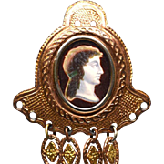 Antique Nineteenth Century Pomponne Chatelaine with Eglomise Portrait