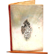 Antique Nineteenth Century French Mother of Pearl Carnet de Bal with Silver Cartouche