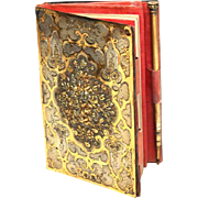 Rare and Extraordinary Antique Napoleon III French Vermeil and Silver Carnet de Bal with Repousee Medallion