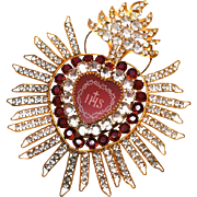 Ravishing LARGE Nineteenth Century Candle Shade Ornament Flaming Sacred Heart IHS