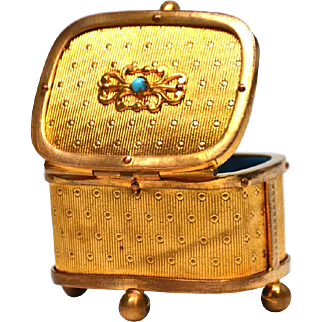 Petite Antique Nineteenth Century Gilded Brass Box with Turquoise Stone Accent