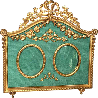 Antique French Napoleon III Era Century Gilded Bronze Double Portrait Cadre Frame