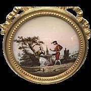"Antique Napoleon III Gilt Framed Fixe Sous Verre Eglomise ""Scene Galante"""