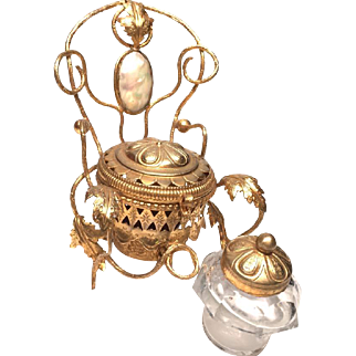 Antique Nineteenth Century Gilded Brass Inkwell with Mother of Pearl Medallion