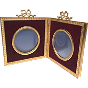Antique Nineteenth Century Gilded Bronze Double Picture Frame