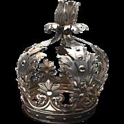 RARE Antique Nineteenth Century Neapolitan Italian Silver Santos Crown