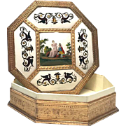 Rare Antique French Charles X Period Octagonal Hand Painted Porcelain Courtship Box