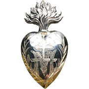 Fine Antique Nineteenth Century Silver French Ex Voto Sacred Heart