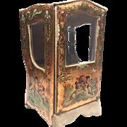 Antique Nineteenth Century Miniature French Vernis Martin Chaise a Porteur Porte Montre