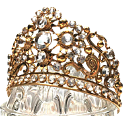 Antique 19th c. French Gilded Bronze Santos Diadem Crown