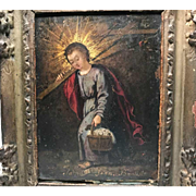Antique Eighteenth Century French Religious Framed Painting on Copper
