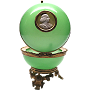 Antique Palais Royale Green Opaline Box w/Gilded Mounts and Cameo Medallion