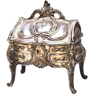 Antique Nineteenth Century Cast Metal Argente French Bijoux Box in Form of French Standing Bureau