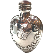 Antique Nineteenth Century English Sterling Scent Perfume Flacon with Figural Cherub