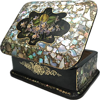 Antique Nineteenth Century Napoleon III Era French Mother of Pearl Abalone Black Lacquer Box