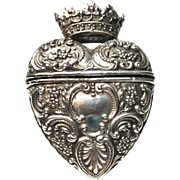 Antique English Sterling Crowned Heart Vinaigrette