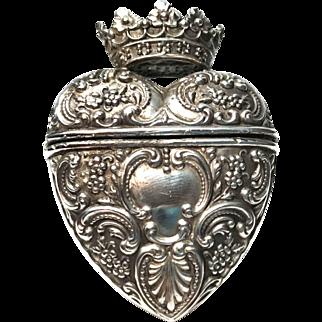 Antique English Sterling Crowned Heart Vinaigrette