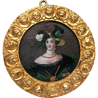 Antique French Nineteenth Century Eglomise Framed Portrait