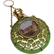 Antique Palais Royale French Green Opaline Eglomise Scent Bottle with Finger Circle